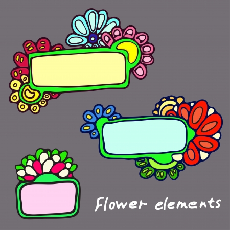 three  plates on background patterns of flowers Illustration