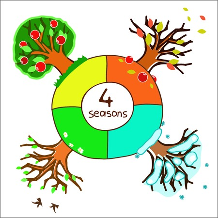 trees in four seasons for design of a calendar