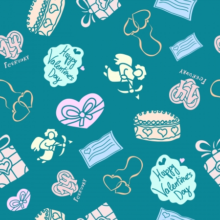 seamless texture with festive symbols for St. Valentines Day Illustration