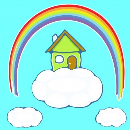 illustration of green house on a cloud under a rainbow Illustration
