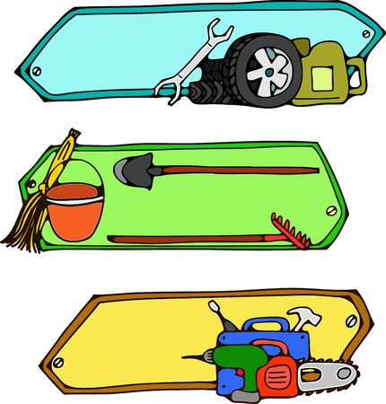 three headers on a subject: repair of cars, agricultural stock, tools Illustration