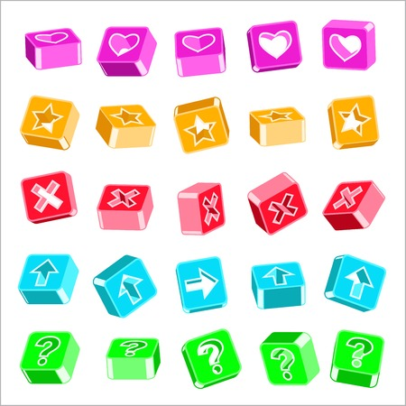 set of volume icons with symbols of hearts, crosses, arrows, stars, and a question mark