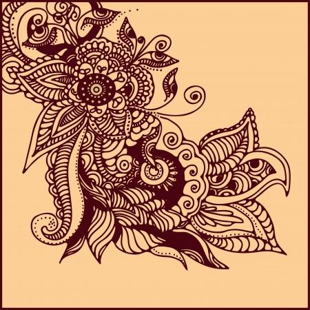 illustration of  abstract pattern of a tattoo henna Illustration