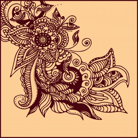 illustration of  abstract pattern of a tattoo henna Vettoriali