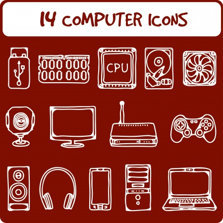 illustration of icons of the computer equipment in sketch style