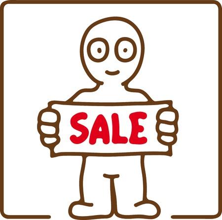advertizing: illustration of little man showing advertizing inscription