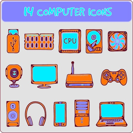 color illustration of icons of computer equipment Vector