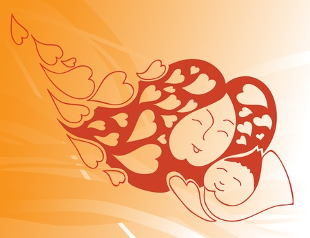 vector illustration of loving mother with baby