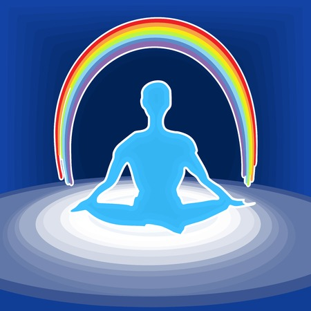 illustration of the meditating person with a rainbow over head Stock Vector - 26074693