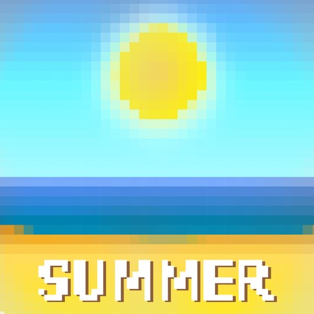 vector illustration of a summer beach in  pixel art style