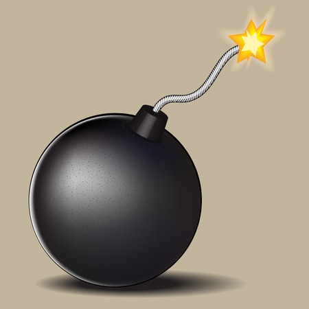 detonating fuse: vector illustration of a bomb with burning fuse