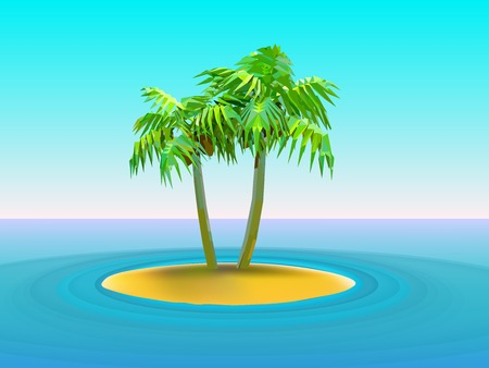 vector illustration of  two palm trees on island in the middle of ocean Illustration