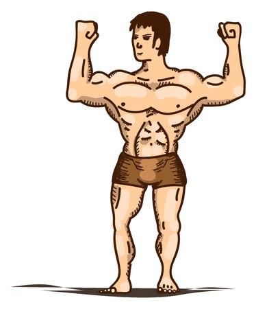 vector illustration of posing bodybuilder in pants