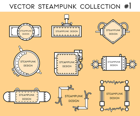 vector illustration of frame in steampunk style Illustration