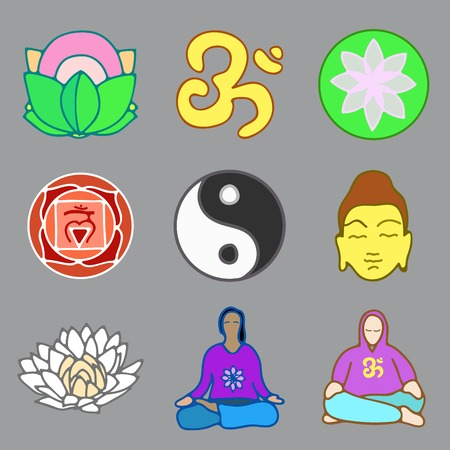 tranquillity: vector illustration of set of icons of yoga