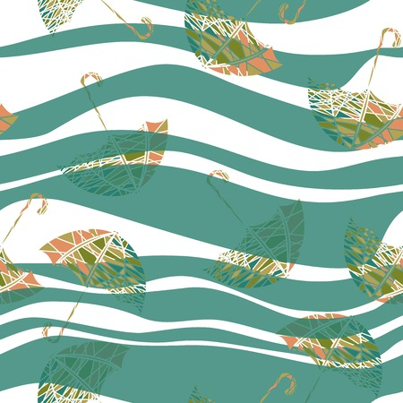 vector illustration of a seamless pattern with umbrellas Vector