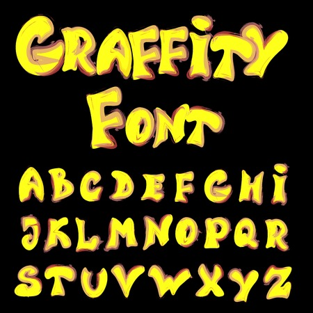vector illustration of English alphabet in graffiti style Vector