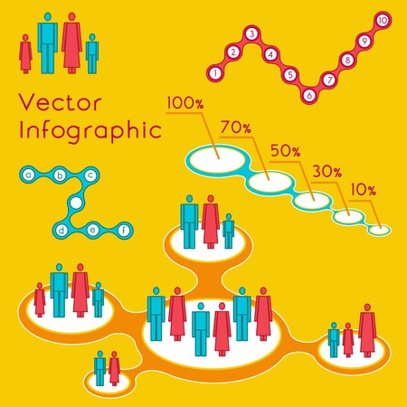 vector illustration of demographic infographic for presentation