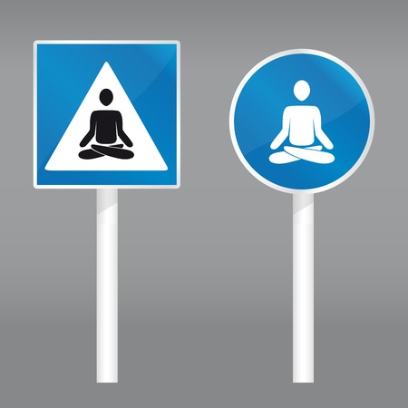 nirvana: vector illustration of a road sign with meditating person