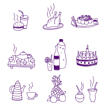 vector illustration of icons of food and drinks Vector