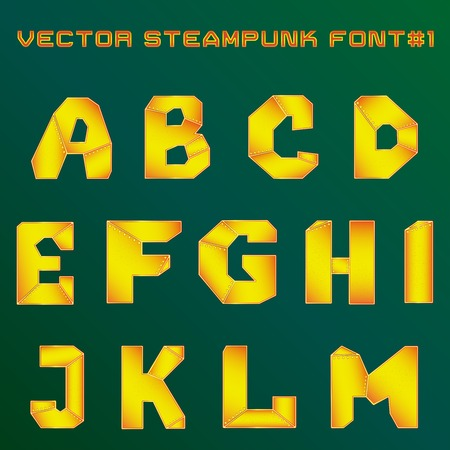 vector illustration of steampunk alphabet for design Vector