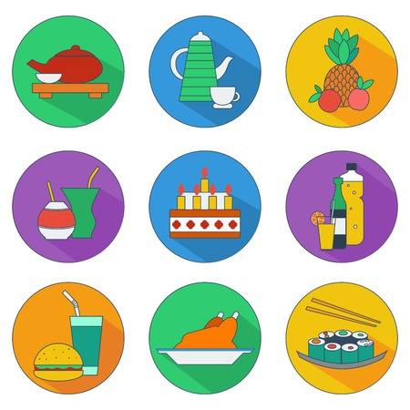 illustration of flat icons of food and drinks Vector