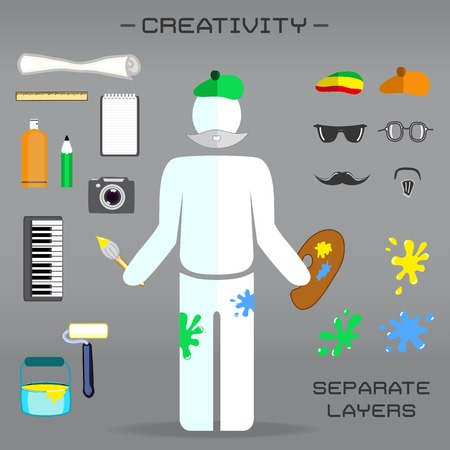 creative set of artist - icons of tools and appearance details Vector