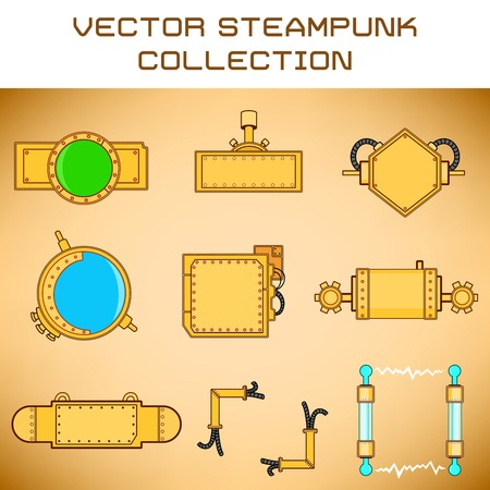 set of mechanical details in steampunk style