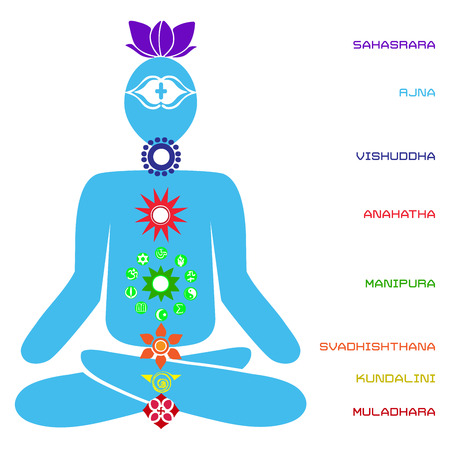 Scheme of power body of the person in yoga. Illustration