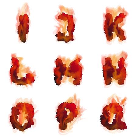fiery font: Vektor-Illustration von Englisch brennen Alphabet f�r Design Illustration