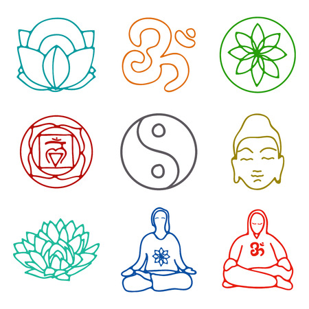 vector illustration of set of icons of yoga