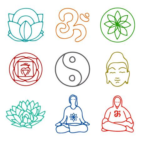 omkara: vector illustration of set of icons of yoga