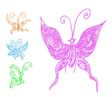 vector illustration of butterflies in tattoo style Vector