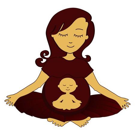 mujer meditando: meditando mujer embarazada con un pequeño niño meditando en el estómago Vectores