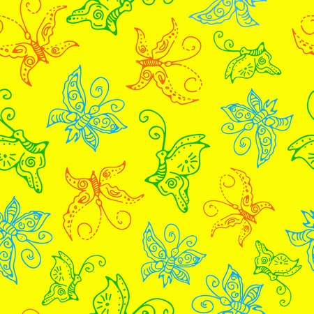 illustration of seamless pattern of butterflies Vector