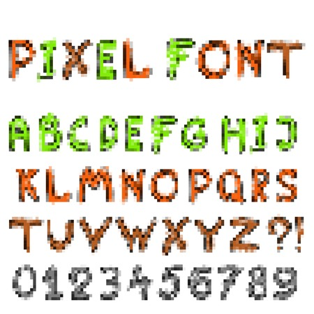 alphabet - pixel  set of letters for design in computer game Vector