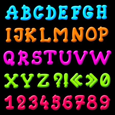 illustration of cartoon plasticine alphabet for design Vector