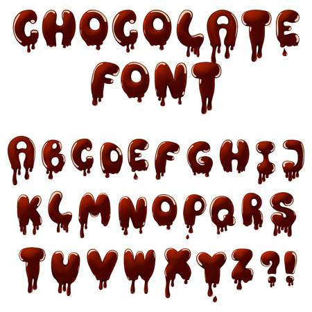 chocolate alphabet with smudges and drops Vector