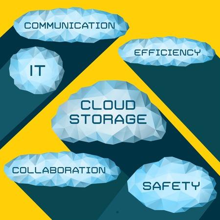 elements of infographics cloud storage for design presentation Vector