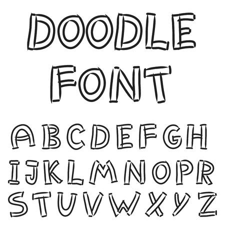 negligent: illustration of  English alphabet in doodle style Illustration