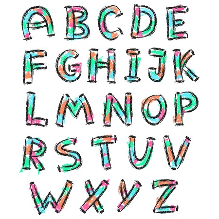 inaccurate: illustration of color English alphabet in doodle style