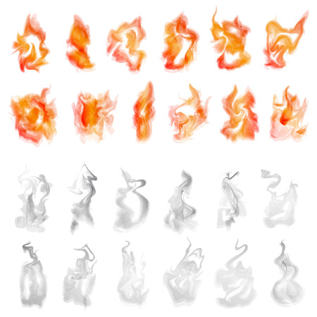 illustration of isolated fire and smoke set