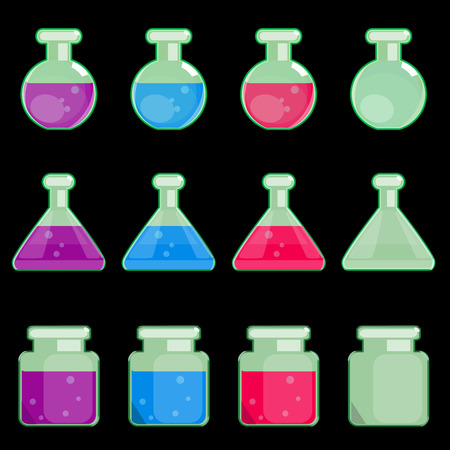elixir: set of transparent flasks of a round, triangular and square form