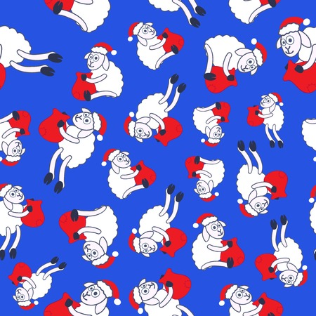 sheeps: Seamless pattern- New Years sheeps in a red cap with a bag