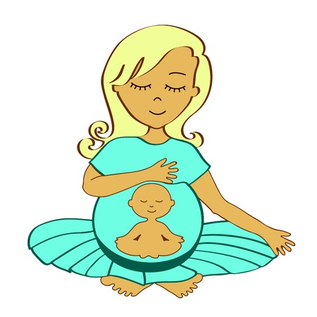meditates: meditating pregnant woman with small meditating child in a stomach - yoga style