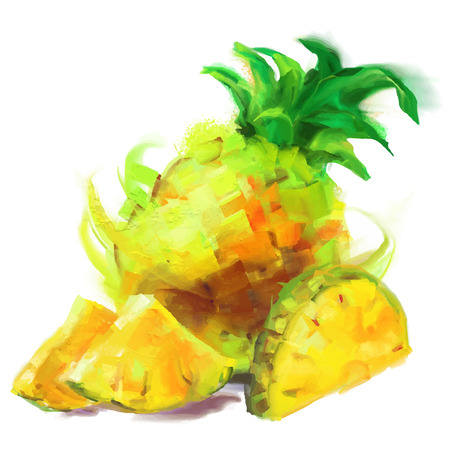 drawing pineapple with a slice