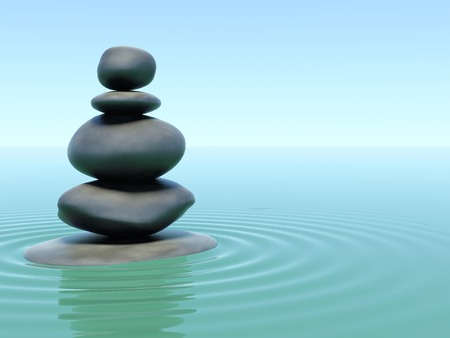 stones on water in style a zen Stock Photo