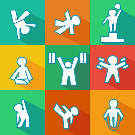 isolated vector flat icon set of fitness - sports logos Vector
