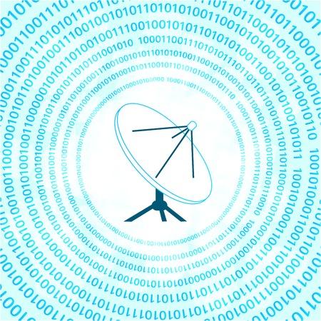 satellite transmitter: vector satellite dish on digital binary background Illustration