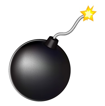 fuze: illustration of a bomb with burning fuse